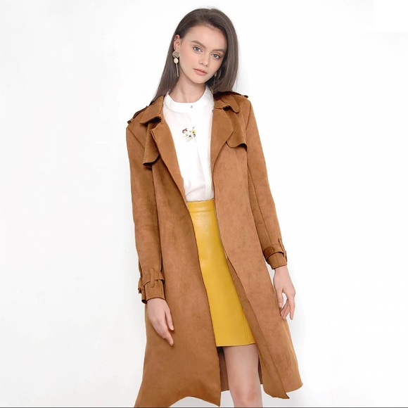 Her Velvet Vase Jackets Coats Faux Suede Trench Coat In Chestnut